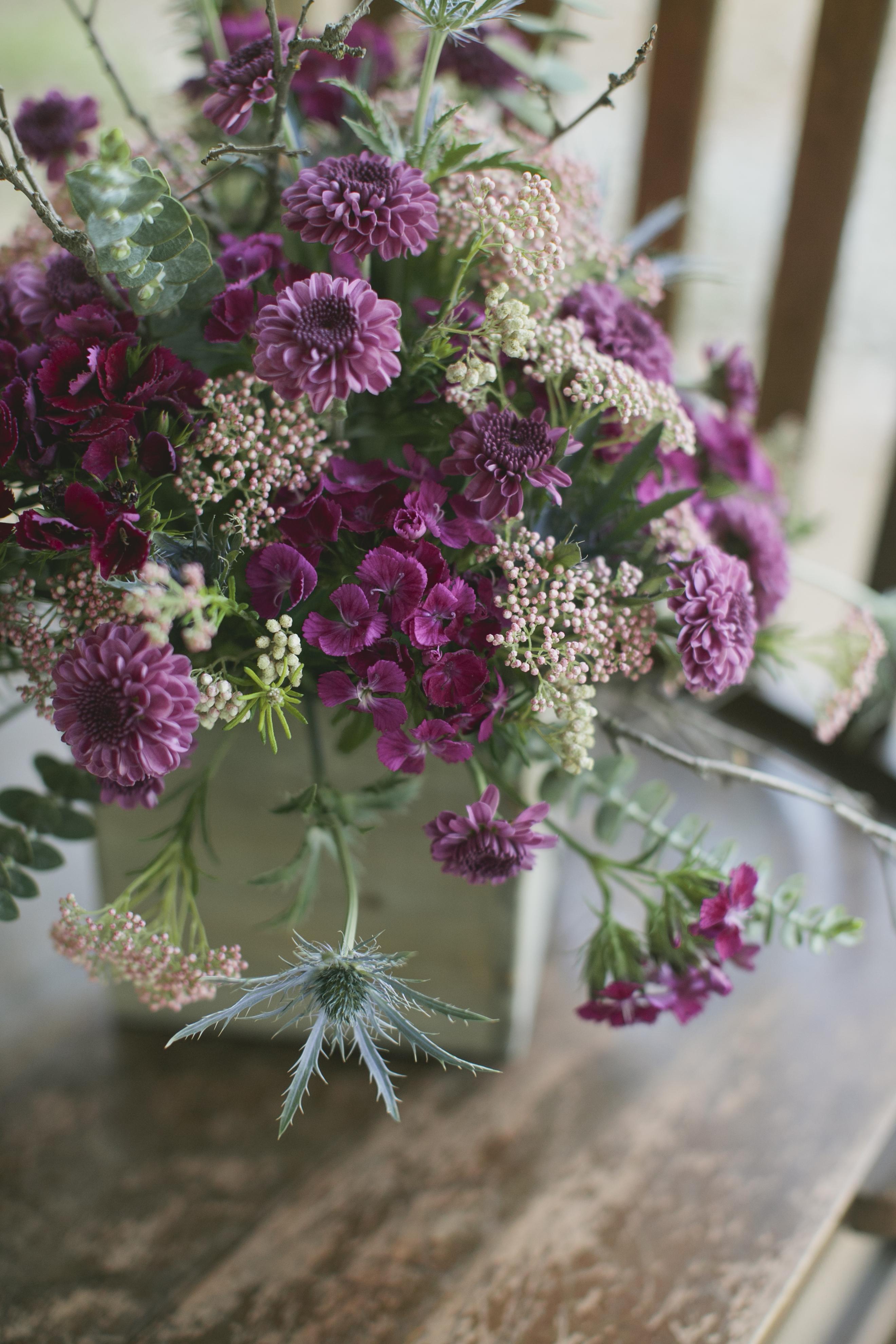 purple and lavender flowerarrangement