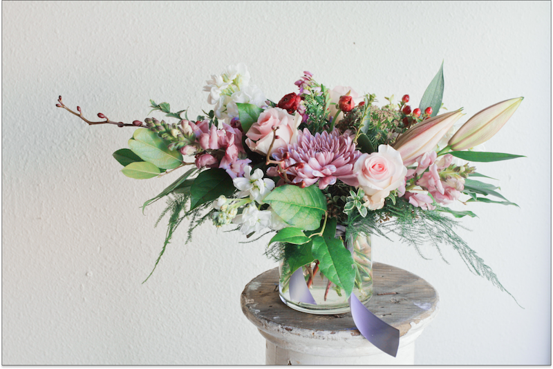 example of a large, spring flower arrangement