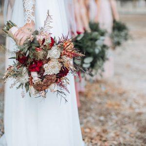 ruscus and dahlias adorn this wonderful bridal bouquet